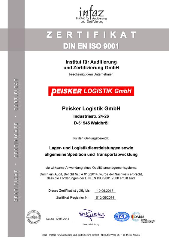 Peisker-Logistik GmbH nach DIN EN ISO 9001 zertifiziert