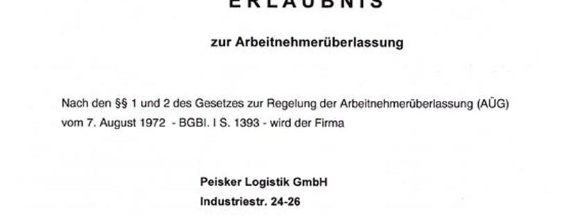 Peisker-Logistik GmbH erhält die Erlaubnis zur Arbeitnehmerüberlassung